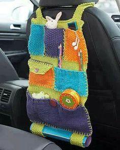 But I will crochet mine! Lily Sugar 'n Cream - Road Trip Car Caddy (free knitting pattern) Crochet Car, Crochet Gratis, Crochet Home, Crochet For Kids, Free Crochet, Crochet Organizer, Crochet Storage, Knitting Projects, Crochet Projects