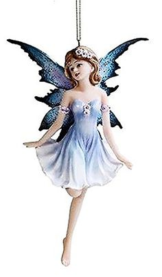 """Custom & Unique {5"""" Inch} 1 Single Mid Size, Home & Garden """"Standing"""" Figurine Decoration Made of Resin w/ Realistic Mythological Soft Cerulean Fairy Ornament Style {Blue, Black, & White}"""