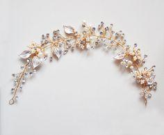 Rose Gold bridal headband, Pearl and leaf Headband, Bridal Hair accessories Grecian wedding head piece, Bridal Crown, hair wedding accessory  The