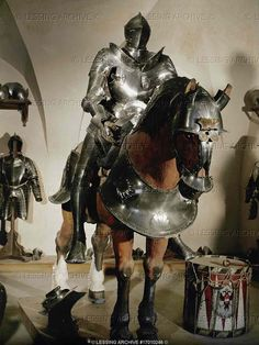 Riding armour and horse's armour for Jacob VI, Medieval World, Medieval Knight, Medieval Armor, Medieval Times, Horse Armor, Arm Armor, Armadura Medieval, Horse Costumes, Knight Armor