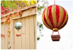 Holiday ornaments made into cute air balloons. Plastic ornaments or decorated Styrofoam balls?