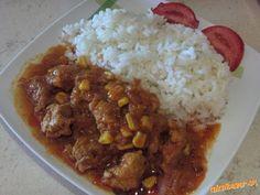 Mäsko na šťave s kukuricou | Mimibazar.sk Korn, Grains, Curry, Beef, Ethnic Recipes, Meat, Curries, Seeds, Steak