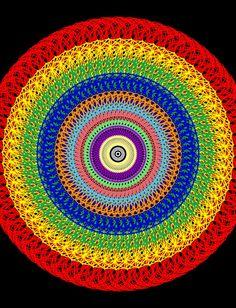 Continued adventures with doodle dandy. Rainbow Crochet, Crochet Mandala, Mandala Pattern, Love Crochet, Knit Crochet, Knitting Patterns Free, Free Pattern, Crochet Patterns, Crochet Squares