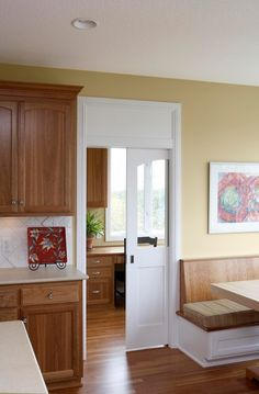 3 panel shaker door with glass... room for glass transom above