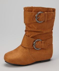 Chatties Cognac Double-Buckle Boot by Chatties #zulily #zulilyfinds