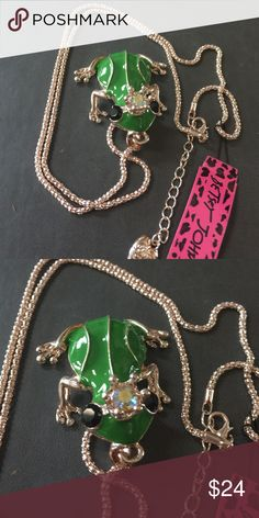 "Betsey Johnson Crystal & enamel Frog Necklace New with tags. Next day shipping. 28"" chain Betsey Johnson Jewelry Necklaces"