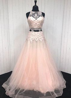 c3fd272f965e Pink chiffon tiered two pieces sequins A-line beaded long evening dresses