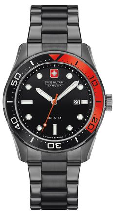 Hanowa Aqualiner 6-5213.30.007 black and red dive watch w date 10ATM eee8c133d8a