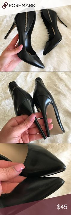 """NINE WEST 😍 SUPER SEXY STILETTO HEEL SZ 8.5 Previously loved NINE WEST STILETTO SIZE 8.5 🖤 4"""" heel! Silver zipper. It breaks my heart to part ways with these amazing shoes! 💔  SHOWS NORMAL SIGNS OF WEAR. NO FLAWS TO NOTE. GENUINE LEATHER.   Ships same or next day from my smoke free home. ❤️ Bundle items to save!  Reasonable offers will be considered through the offer button only 😘 Nine West Shoes Heels"""