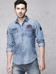 8343cd8daf Mid washed denim shirt with badges - Ecko Unltd India