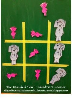 The Wielded Pen - Children's Corner: Storytime Skit: Mo Willems - Elephant & Piggie Tic Tac Toe Game Piggie And Elephant, Elephant Party, Book Activities, Preschool Activities, Summer Activities, First Grade Themes, Kids Library, Library Ideas, Mo Willems
