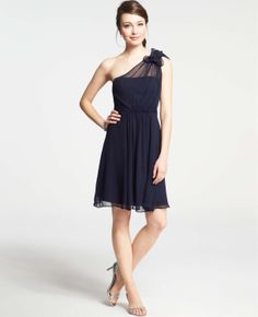 Silk Georgette Flower One Shoulder Dress | Ann Taylor