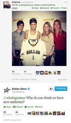 The Dallas Stars don't like Justin Beiber either.
