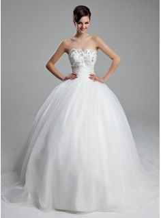 bal Cœur Traine courte Satin Tulle Robe de Mariée avec Ondulé lacet Perlé (002011973)