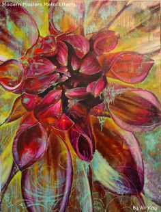A gorgeous red flower painting accented with Modern Masters Metal Effects Copper Patina Flower Canvas, Flower Art, Modern Masters, Mural Art, Whimsical Art, Metallic Paint, Ancient Art, Art Techniques, Unique Art