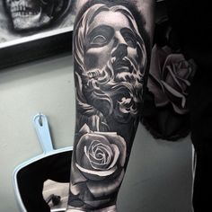 Amazing Rose Flower Jesus Shaded Black And Grey Forearm Sleeve Tattoos For Men