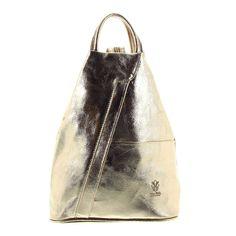 d2ba551b3739b Italienischer ♥ Leder Rucksack oder Schultertasche metallic gold für Damen  versandkostenfrei