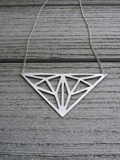 Geometric metal lasercut-like triangle necklace