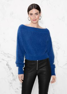 & Other Stories image 1 of Knit Off-Shoulder Sweater in Blue