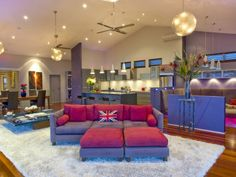 Love the upbeat feel of this room with the bold colours and lighting