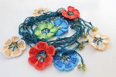 Colorful Crochet Necklace, Oya crochet,  Long Wrap Flower Necklace,  Fiber Jewelry, Hippie Style, Lariat crochet necklace by YosiPet on Etsy