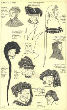 """Medieval or Gothic Europe: Late 14th-15th centuries (4/16), Chapter 7, """"The Mode in Hats and Headdress: A Historical Survey""""  by R. Turner Wilcox 