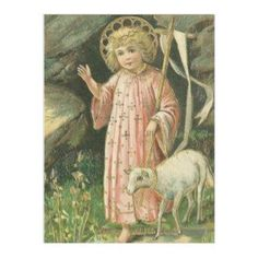 Jesus Boy Child Cross Lamb Easter Flowers Fleece Blanket  #catholic #catholicgifts #blankets #traditionalcatholic