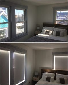ASAP Blinds | Before and after photo of room-darkening roller shades in bedroom.