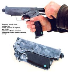 "1995 ""Gnomes"" Pistol by (KB-S Ukraine) - it weighs 1180 gr. and holds 20 rounds… Weapons Guns, Guns And Ammo, Concept Weapons, Fire Powers, Cool Guns, Rifles, Survival Gear, Survival Guide, Tactical Gear"