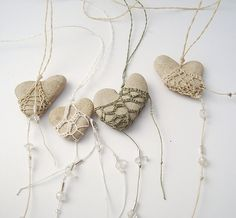 crocheted heart rocks