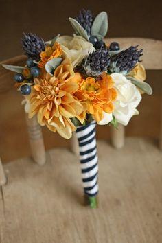 Nautical Wedding navy blue bride bouquet, Navy and Mustard Nautical Wedding decor ideas, beach wedding Bridesmaid Bouquets, 2014 Valentine's day decor ideas