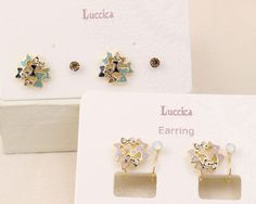 Luccica 可愛藍色蝴蝶結球水晶四枚入組合 耳環 (包平郵有夾式)