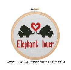 Elephant Lover Cross Stitch Pattern| Elephants in Love| Heart| Elephant Fans|Modern Cross Stitch| Small Pattern| Download PDF Counted Stitch #elephant #crossstitch #pattern