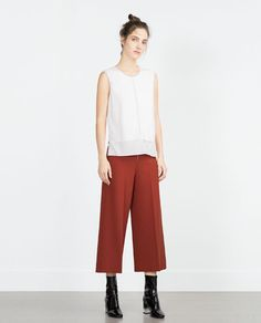 Image 1 of TULLE PIPED T-SHIRT from Zara