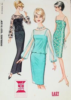Mccalls Sewing Patterns, Vintage Sewing Patterns, Clothing Patterns, 1960s Fashion, Vintage Fashion, Timeless Fashion, Trendy Dresses, Nice Dresses, Cocktail Dress Classy Evening