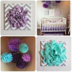 purple, turquoise and gray nursery