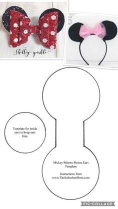 DIY bow making - mic Minnie or Mickey MouseCheer Bow Template Printable Best Pin by butterflies Minnie Mouse Costume, Minnie Mouse Bow, Minnie Mouse Headband, Diy Disney Ears, Disney Diy, Mickey Ears Diy, Diy Hair Bows, Diy Bow, Diy Headband