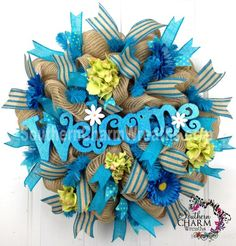 Mesh Burlap SpRiNg WrEaTh Natural Turquoise Lime WELCOME SIGN Door Wreath by www.southerncharmwreaths.com #burlap #spring #wreath