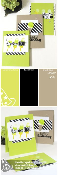 Homemade cards by Natalie Lapakko featuring Cool Treats stamps and Embossing Paste from Stampin' Up! Color Inspiration: Lemon Lime Twist, Basic Black, Crumb Cake, Whisper White
