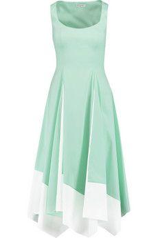 Vionnet stretch cotton blend poplin midi dress