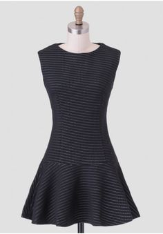 City Overlook Drop Waist Dress - Perfect for a semi-formal occasion, this black textured dress is constructed with a flirty drop waist silhouette and features dotted striped design in light blue.
