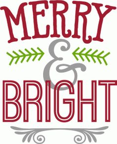 Silhouette Design Store: merry & bright - Christmas / Holiday phrase by Kolette Hall