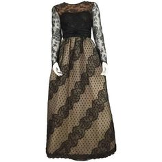 Preowned Bill Blass 70s Black Lace & Ivory Silk Taffeta Gown Size 4. ($1,800) ❤ liked on Polyvore featuring dresses, gowns, evening gowns, white, winter white dress, white evening dresses, lace evening gowns, vintage white dress and vintage dresses