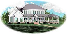 Elegant Southern House Plan With Circular Porch