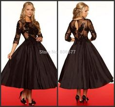 Vintage 2015 Tea Length Evening Dresses With Sleeves Sheer Black Chocolate Taffeta Lace Formal Gowns Women -in Evening Dresses from Apparel & Accessories on Aliexpress.com | Alibaba Group