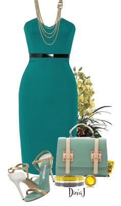 """Catherine Malandrino Strapless dress"" by dimij ❤ liked on Polyvore"
