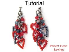 Beaded Heart Earrings with Chain Crystals and Seed Beads Jewelry Making Pattern Tutorial by Simple Bead Patterns | Simple Bead Patterns