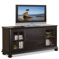 Shop for the Riverside Furniture Summit TV Console at Hudson's Furniture - Your Tampa, St Petersburg, Orlando, Ormond Beach & Sarasota Florida Furniture & Mattress Store Riverside Furniture, Hudson Furniture, Parks Furniture, Home Furniture, Stone Backyard, Black Tv Stand, Cool Tv Stands, Quality Furniture, Discount Furniture