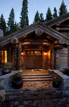 Modern take on a log cabin, custom-built by NSM Construction in Truckee, CA. Log Cabin Living, Log Cabin Homes, Log Cabins, Timber House, Wooden House, Woodworking Business Ideas, Cabins And Cottages, Mountain Homes, Cozy Cabin
