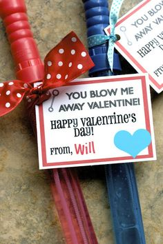 """""""you blow me away"""" valentine...or use paper party favor blowers coupled with this cute printable tag"""